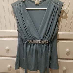 Blue tank top with embellishments on front
